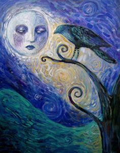 """The Crow And The Moon"" - by flea-sha @ deviantART Crow Bird, Sun Moon Stars, Crows Ravens, Moon Magic, Creepy Cute, Moon Art, Horror Art, Painting & Drawing, Illustration Art"