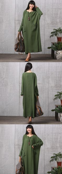 Top Fashion 2017 Autumn Women Casual Loose Long Sleeve Dress Cotton Linen Solid Long Maxi Dress Vestidos Plus Size – Best Of Likes Share Trendy Dresses, Simple Dresses, Casual Dresses, Fashion Pants, Hijab Fashion, Boho Fashion, Hijab Stile, Long Sweater Dress, Dress Plus Size