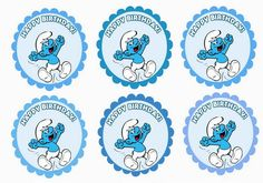 Click image to enlarge and print OR Click below image for PDF Birthday Party Decorations, Birthday Parties, Cupcake Toppers Free, Themed Cupcakes, Cupcake Party, Print And Cut, Party Printables, Cartoon Characters, Wall Stickers