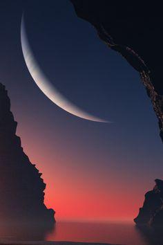 luna, sky, sunset, art, crescents, new moon, beauti, amazing nature, crescent moon