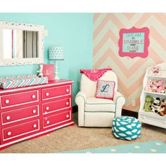Lila's Chevron Nursery - eclectic - kids - other metro - Caden Lane. This room is perfect! Hot pink, pink, teal, turquoise, white, and patterns.
