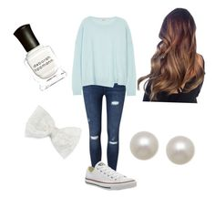 """Girly girl"" by aineschuh on Polyvore featuring Miss Selfridge, J Brand, Decree, Deborah Lippmann, Converse and Honora"