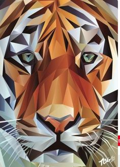 Geometric Tiger Portrait - Printed on high quality paper with a matt finish gsm) Sizes: &. Geometric Tiger, Abstract Geometric Art, Geometric Drawing, Geometric Designs, Geometric Shapes, Polygon Art, Tiger Art, Arte Pop, Art Plastique