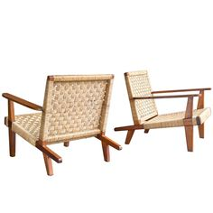 Mid-Century Woven Lounge Chairs | From a unique collection of antique and modern lounge chairs at https://www.1stdibs.com/furniture/seating/lounge-chairs/