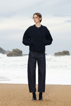 Lemaire Pre-Fall 2015 // black sweater, cropped charcoal grey pants & boots #style #fashion