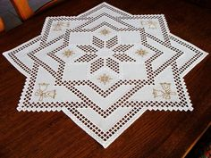 Hardanger Embroidery Large Doily A Star in A Star for Christmas Handmade | eBay