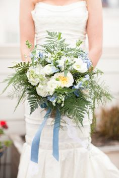 Blue Ribbon Tied Bouquet | photography by http://www.juliemikos.com @mandolinflowers #rydersloanevents