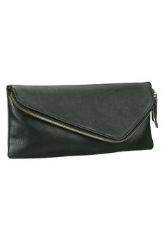 Asymmetric Zip Fold Over Clutch
