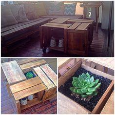 Mesa de centro hecha con cajas de verduras cajones de for Zapatera esquinera