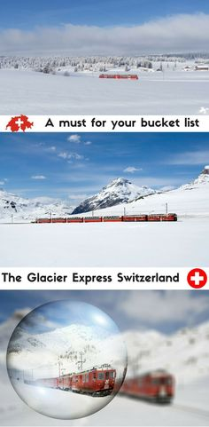 The Glacier Express is one of the best things to do in Switzerland. This amazing train ride takes you through the Alps from St. Moritz to Zermatt.   ----------------------------------------------------------------------------------------------------Things to see in Switzerland | Switzerland train rides | Switzerland attractions | Visiting the Swiss Alps | Zermatt attractions | What to do in St Moritz | Travelling in Switzerland |