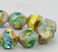 Czech Glass Beads - Central Cut Beads - Gaspeite Opaque and Aqua Transparent Mix with Picasso Finish - 9mm Beads - 15 beads @SolanaKaiBeads on Etsy #Beads #SolanaKaiBeads