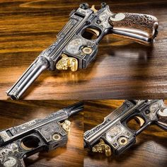 An engraved Bergmann pistol model 1908 made by Pieper in Belgium. Frank Brownell Museum of the Southwest Weapons Guns, Guns And Ammo, Ninja Weapons, Armas Wallpaper, Custom Guns, Weapon Concept Art, Cool Guns, Awesome Guns, Fantasy Weapons