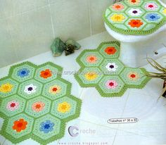Colorful hex bathroom decor ♥LCB♥ with diagrams
