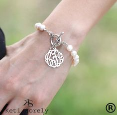 Handcrafted Monogram Bracelet  with Pearls - (Order Your Initials) - designed for weddings, birthdays, mother's day & etc on Etsy, $79.00