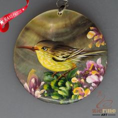 HAND PAINTED YELLOW BIRDS NATURAL MOP MOTHER OF PEARL PENDANT ZL3005434 #ZL #PENDANT