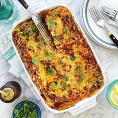 Vegetarisk lasagne med grönsaker och svamp