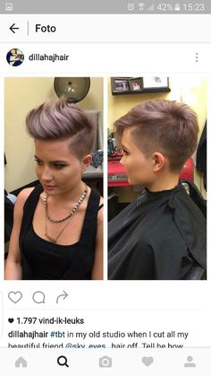 Short hair pixiecut undercut purple violet