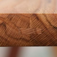 Close up view of the oak table-top edge showing the detail of the feather and groove edge-joint I like to use. It's very strong, helps alignment and shows off craftsmanship. Beautiful spalted end grain too! #table #canberra #woodworking #craftsman #bespoke #design #designermaker #interiordesign #canon #joint