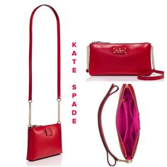 """❤️ """" HP"""" ❤️ KATE SPADE ❤️ ♥️ Wellesley Declan Red ! Boarskin embossed cowhide with smooth leather trim ! Capital kate jacquard! 14 karot light gold plated hardware ! 5.5""""h x 10.3"""" w x 1.2 d. Strap length 47.6"""" adjustable drop length 23.8"""" ! Interior zip and double slide pockets ! Printed kate spade New York license plate ! It's Beautiful ! ♥️. NO BUNDLING !!!!!! kate spade Bags Crossbody Bags"""