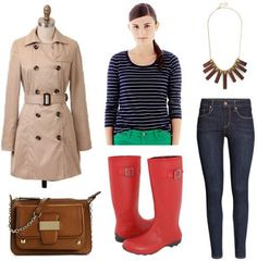 Rain boots can seem a little clunky, but it's easy to dress them up with the right pieces. For a classic, sophisticated vibe (with a touch of nautical chic), combine a striped navy tee, blue jeans, and red rain boots. Pick an interesting necklace, like this wooden, geometric version. Polish things off with a classic trench and a cool studded bag.