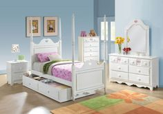 Acme Furniture - Sweetheart 5 Piece Bedroom Youth Poster Full Bed Set in White - 30165F-5SET