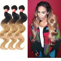 Hot 3Bundles Brazilian Human Hair Extension 2tone:1b/27 Ombre Hair Body Wave New #WIGISS #HairExtension