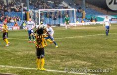 19th March 2016 Bury 2-2 Shrewsbury Weird hair guy takes a throw in
