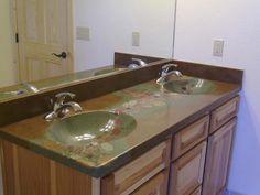 Acid Stained Bathroom Vanity Top Concrete Sinks Direct Colors, Inc. Shawnee, OK Stained Concrete Countertops, Acid Stained Concrete, Concrete Sink, Formica Countertops, Concrete Bathroom, Concrete Design, Diy Concrete, Concrete Kitchen, Painting Concrete