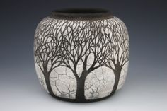 black and white - vase with trees - ceramic - Melodie Grace
