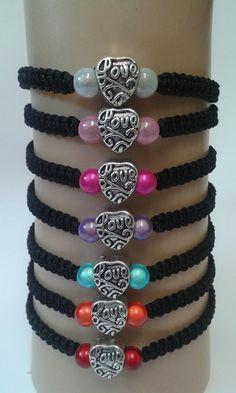 Love bracelet  heart bracelet  love charm  love heart by katsmakes