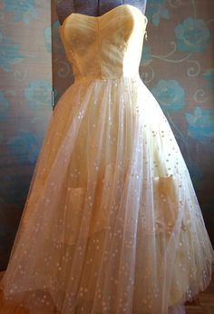 1950s Prom Dress/ Lemon Yellow Tulle Dress by cotillionvintage, $150.00