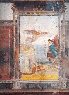 """Roman Fresco """"The Death Of Icarus"""" 'Villa Imperiale' in Pompeii. Ancient Pompeii, Pompeii And Herculaneum, Rome Antique, Art Antique, Roman History, Art History, Art Romain, Pompeii Italy, Roman Art"""