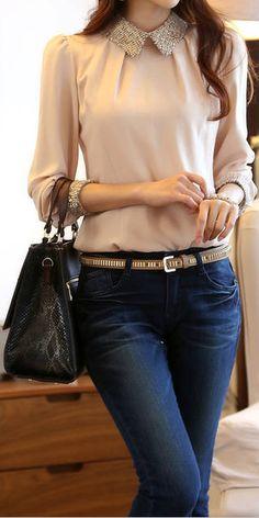 OL Style #Turn-Down Collar Splicing Embellished Long Sleeves Chiffon Shirt