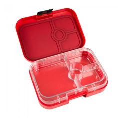 Yumbox Panino Pomodoro Red. One 2 cup sandwich/salad-friendly section, two 1/2 cup servings plus a 1 oz. dip/treat well. Ideal for kids and adults.