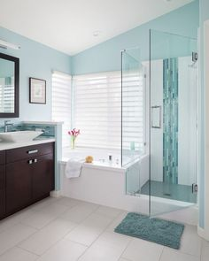 House of Turquoise: Soul Interiors Design - love the glass turquoise mosaics, would have used more of them in the shower, at least one whole side of the wall. Best Bathroom Colors, Bathroom Color Schemes, Paint Schemes, Colour Schemes, Shower Remodel, Bath Remodel, Bathroom Renos, Bathroom Renovations, Bathroom Makeovers