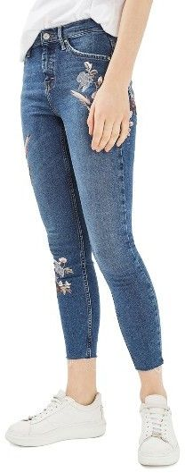 Women's Topshop Moto Jamie Embroidered Skinny Jeans