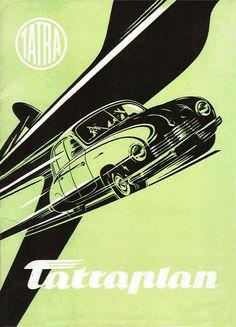 1949-56 Tatraplan brochure Vintage Racing, Vintage Ads, Vintage Posters, Car Tattoos, Car Brochure, Car Advertising, Old Signs, Car Drawings, Illustrations