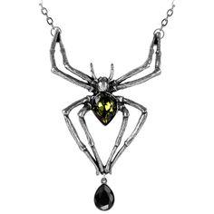 Alchemy Gothic Spider Emerald Venom Pendant