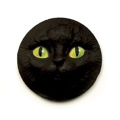 Black Cat Face Cab 40mm Polymer Clay Cabochon by graphixoutpost