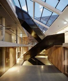Stunning Impressive Building Architecture with Fresh Interior: Interesting Staircase In Luxurious Culture District Building Interior Design  More About Us: http://krigarealestate.com