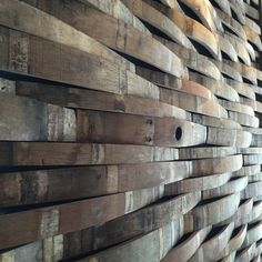 Wine barrel wall at Local Pour in The Woodlands. Very cool installation. Repurposed wood, Recycle, Reuse