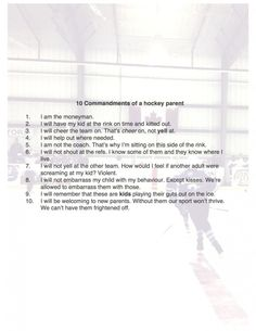 Confessions of a hockey mom - 10 commandments of a hockey parent.