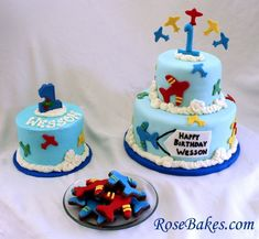 An Airplane Cake, Smash Cake & Cookies.  The cookies are Brownie Roll-Out Cookies... click over for details and more pics!