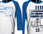 Custom Blue, Yellow, Red, or Black  Raglan Baseball Tshirt - choose Star Wars, Back to the Future, or Harry Potter SIZE XL. $24.75, via Etsy.