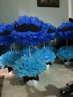 Mustache center pieces I made for my baby shower!!
