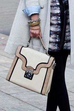 We went bag stalking for NYFW and we love this angular little number. Photo by Mark Iantosca