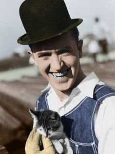 Stan Laurel and Cat Colorized by ajax1946