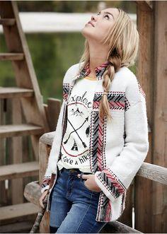 Sweter rozpinany etno Z dużym szalowym • 139.99 zł • bonprix