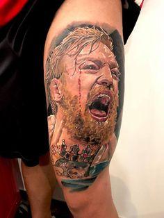 tatuaje realista a color de Connor MacGregor en el muslo. Para citas o info 682698901.... el pulso sin descanso