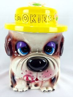 Antique PUPPY DOG Cookie Jar with Lid WALES Made in JAPAN Vintage